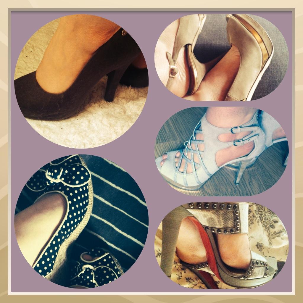 Brown Pumps: Vivienne Westwood Grey Suede: Guess Nude Sandels: Jimmy Choo Platform Sandals: Christian Louboutin Navy Wedge Sandals: Tamaris