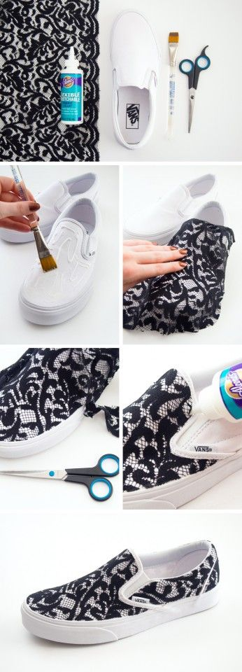 DIY Lace Sneakers by myfavoritediy.net