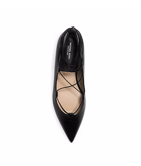 MICHAEL KORS Kallie Runway Lace-Up Leather Flat ($550)