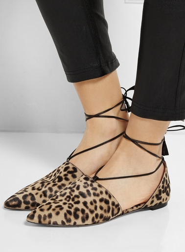 GIANVITO ROSSI Leopard-print calf hair point-toe flats ($895)