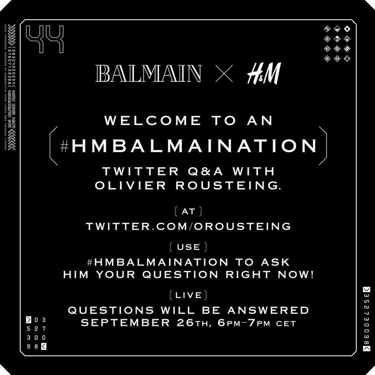The Balmain x H&M Q&A. (Photo: Balmain)