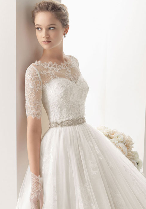 Off The Shoulder Lace Cloak A-Line Tulle Overlay Lace Wedding Dress