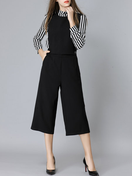 Black Two Piece Long Sleeve Stripes Blouse Plain Wide Leg Overall