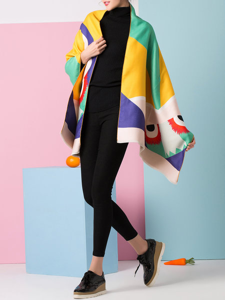 Multicolor Polyester Cute Color-block Cape