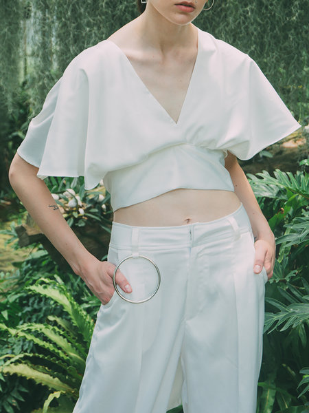 Ourhour White Plain Reversible Satin Sexy Cropped Top