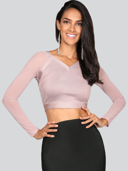 WOW COUTURE Gray V Neck Bandage Polyester Long Sleeve Cropped Top